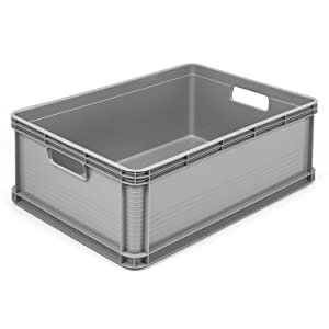 3 x 45 Litre Robusto Industrial Plastic Stacking Euro Storage Containers Boxes Crates GREY