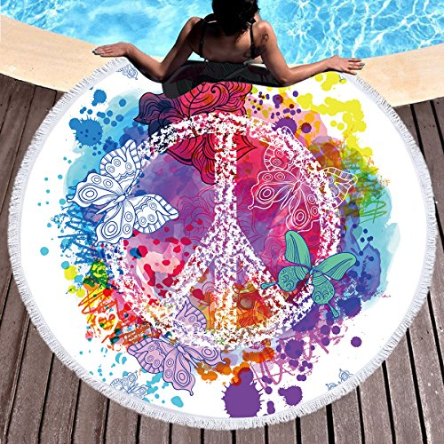 Sleepwish Peace Sign Beach Towel Yoga Circle Mat Watercolor Rainbow Art Psychedelic Yoga Mat Hippie Round Table Cover (Peace Butterflies, 60