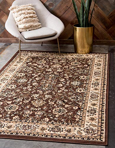 Unique Loom Kashan Collection Traditional Floral Overall Pattern with Border Brown Area Rug (10' x 13')