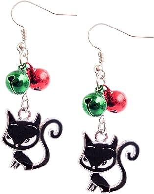 Purple Glass Beads Animal Cat Charms Tassel Dangle Earrings Hook Jewelry Gift