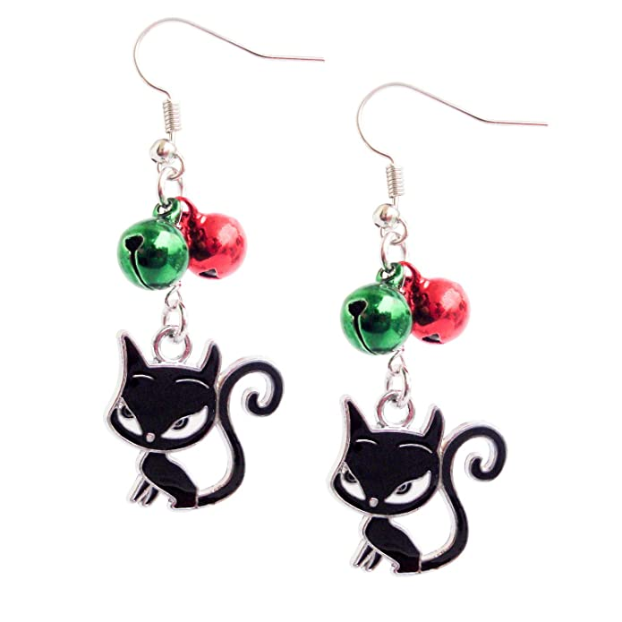 db3b797a92a01 Happy Holidays Christmas With Cat Earrings, Dangle Earrings Jewelry