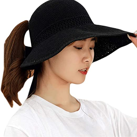 02d5cc3afdf2 Image Unavailable. Image not available for. Color: HoHome Summer Foldable  Straw Weave Sun Hat, Long Ribbon Bowknot Open Top Ponytail Wide Wavy