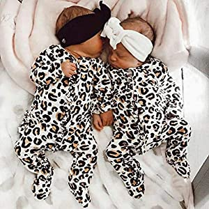 0-12Months,SO-buts Newborn Infant Baby Girl Boy Long Sleeve Leopard Print Clothes Romper Jumpsuit Outfits