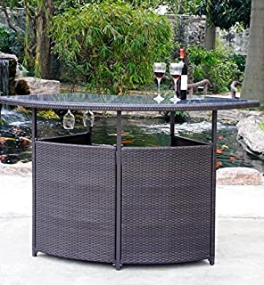 Amazoncom Outdoor Patio Bar Set 3 Piece 1 Glass Top Bar Table 2