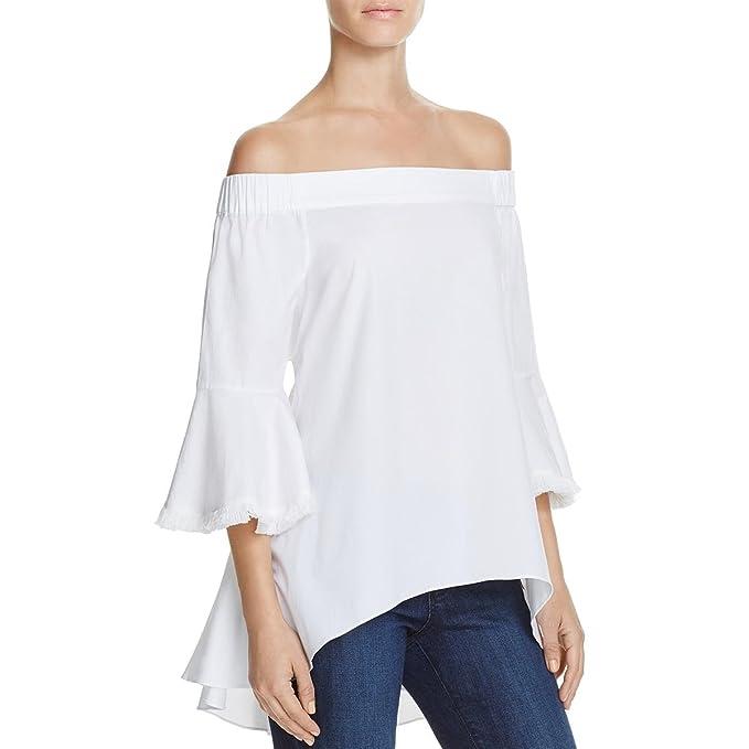 b36a764af33df1 Lucy Paris Womens Fringe Trim Off The Shoulder Blouse White M  Amazon.ca   Clothing   Accessories