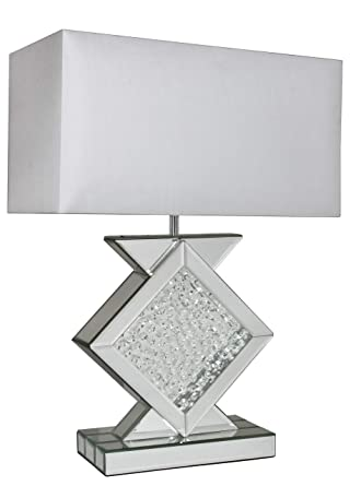 Lámpara de mesa de cristal plateado brillante de 69 cm con ...