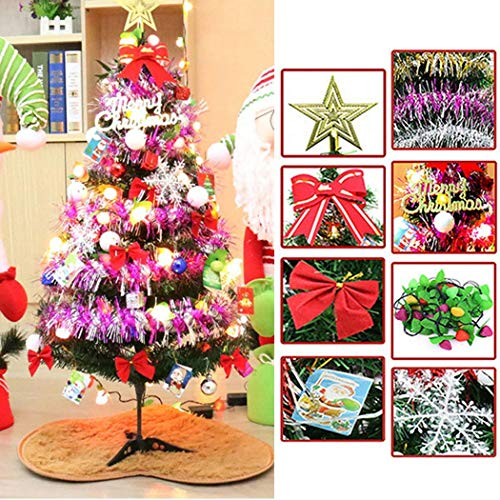 Jingjing1 Tabletop Christmas Tree w/Multicolored Mini Fruit Lights, PVC Christmas Tree Decorative Unique Gift Home Decor (3 feet)