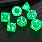 DND Dice Set,Aurora Dice RPG Polyhedral Dice Fit Dungeons and Dragons(D&D) Pathfinder MTG Tabletop Role Playing Dice with Silver Glitter (Green) Green Crystal dice