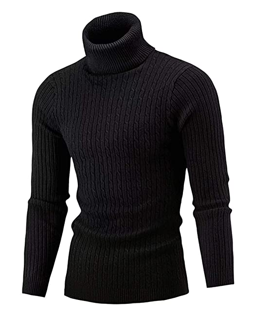 Cameinic Men\u0027s Casual Slim Fit Turtleneck Pullover Sweaters with Twist  Patterned