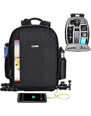 CADeN Mochila Camara Reflex - con Cubierta para Lluvia y Puerto USB Puede acomodar 2 cámaras