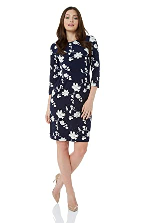 e7521c29e3 Roman Originals Women Textured Floral Print Dress - Ladies 3 4 Sleeve Knee  Length Lined