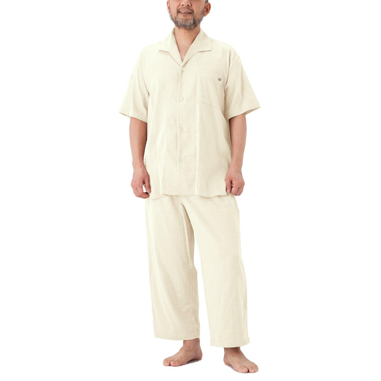 パジャマ屋 パジャマ 半袖 前開き ストレッチ 二重 ガーゼ メンズ B071KYWHHF メンズM(身長165~172cm) エクリュアイボリー エクリュアイボリー メンズM(身長165~172cm)