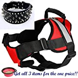 Dog Training and Running Harness Plus Wide Studded Collar for Med Lge Dogs (Up to 60lbs) - Adjustable Reflective No Pull Padded Harness - Bonus Food Bowl Included