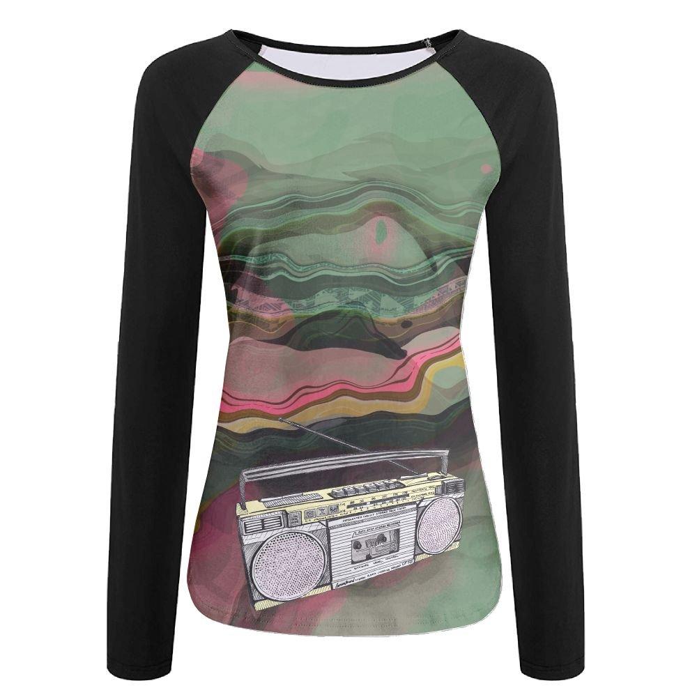 Women'sClassics Vintage Radio Retro Style Printed Long Sleeve T Shirt Girls Tees Dress
