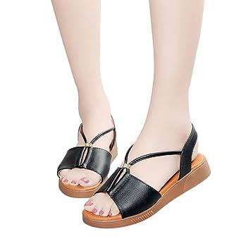 Sannysis Weinlese Frauen Breathable flache Anti Skidding offene Zehe Strand Schuhe Rom Sandalen Flach Schuhe mit...