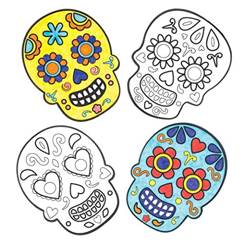 Day of the Dead Color-in Window Decorations for Children. Make Your Own Halloween Ornament with This Creative Set for Children(Pack of 12) - Ornamento Suncatcher