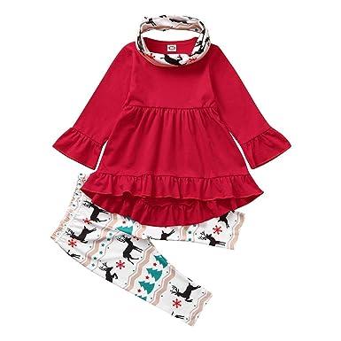 SUDADY - Traje de Navidad para niña, 3 Piezas, Top + Falda + ...