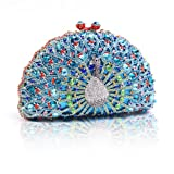 Damara Womens Half Moon Chic Peacock Crystals Wedding Hardcase Evening Bag,Blue