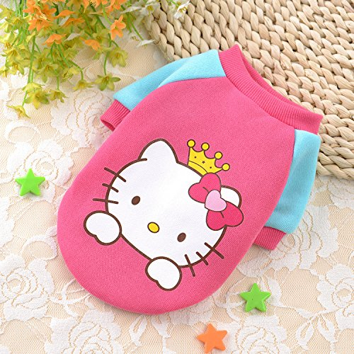 Chicpaw Dog Clothes Sports Winter Vest Chihuahua Bichon Frise Apparel Doggy Pet Cat Coat 10 color for choose (XS(length7,chest11), hello kitty) - Hello Kitty Dog Apparel