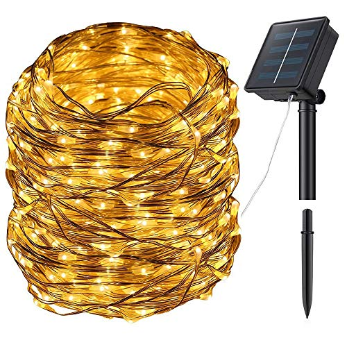 Zhuohao Solar Powered String Lights 100 LED 33.4FT 8 Modes Fairy Wire Lights Outdoor Waterproof Decorative String Lights for Garden, Christmas, Wedding, Party, Patio, Home Decoration, Warm White