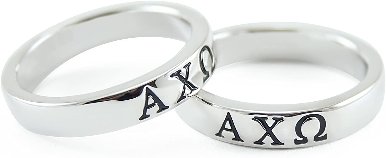 The Collegiate Standard Alpha Chi Omega Sorority Sterling Silver Band Ring w/Black Enamel