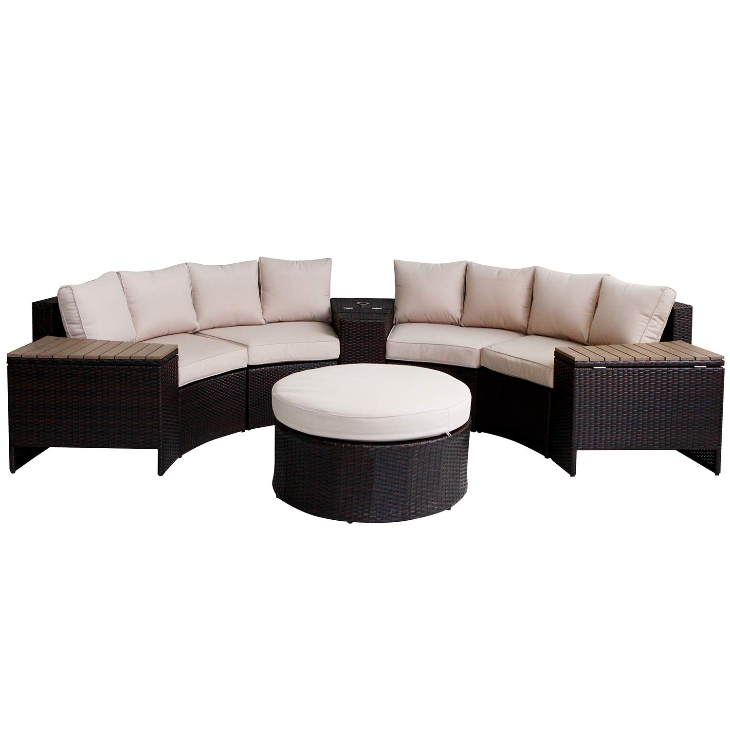 Outdoor Sectional Sofa 8-Piece Half-Moon Patio Furniture Set w Round Coffee Table,Patio Curved Rattan Sofa Set w Beige Fabric Cushions