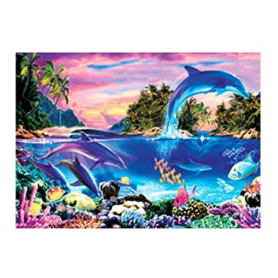 Bravetoshop Jigsaw Puzzles for Adults 100 Piece Puzzle for Adults Kids Gift,Dolphin Bay Landscape Jigsaw Puzzle Toy: Toys & Games