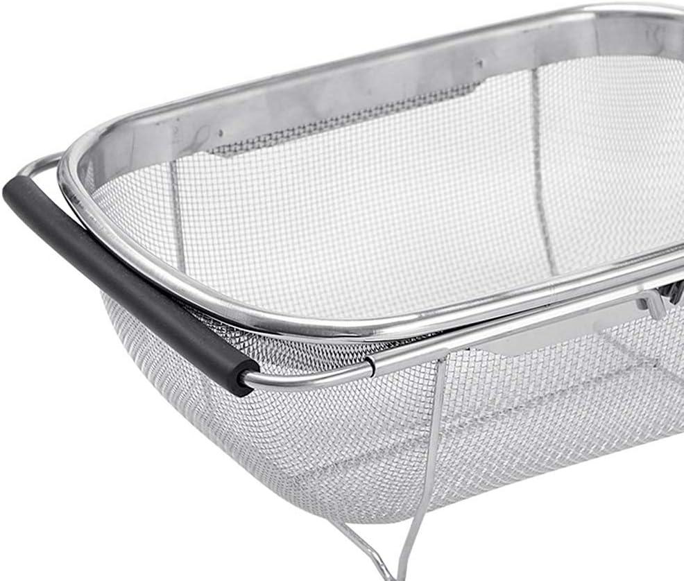 con griglia fine da 15,2 cm e manici in gomma espandibili scolapasta ovale in acciaio inox di alta qualit/à Liseng