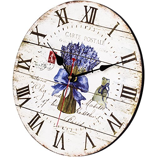Home Decor Clock, Colorful Retro Roman Numerals Style,Silent Non -Ticking Quartz Battery Operated Wooden Wall Clock, Large Wall Art Decorative for Kitchen,Living Room and Kids Room(14 Inch, Lavender) by SkyNature (Image #1)