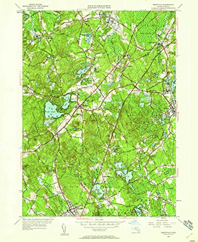 USGS Historical Topographic Map | 1945 Wrentham, MA |Fine Art Cartography Reproduction - Ma Wrentham Of Map