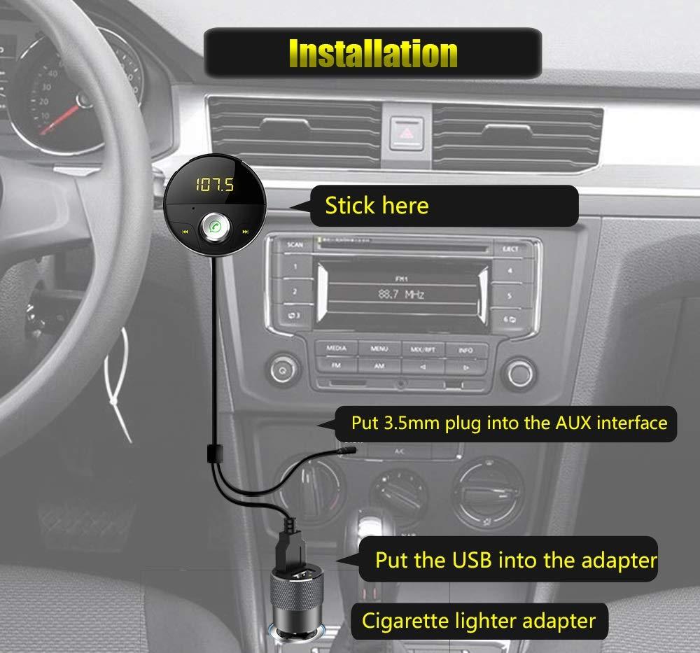 DEEWAZ Bluetooth Receiver Car Kit Built-in Noise Filter 3.5mm Jack Bluetooth Aux FM Transmitter Hands-Free Speaker Dual Usb Car Adapter Wireless Radio Audio & 3M Magnetic Mounts Base (Silver) by DEEWAZ (Image #6)