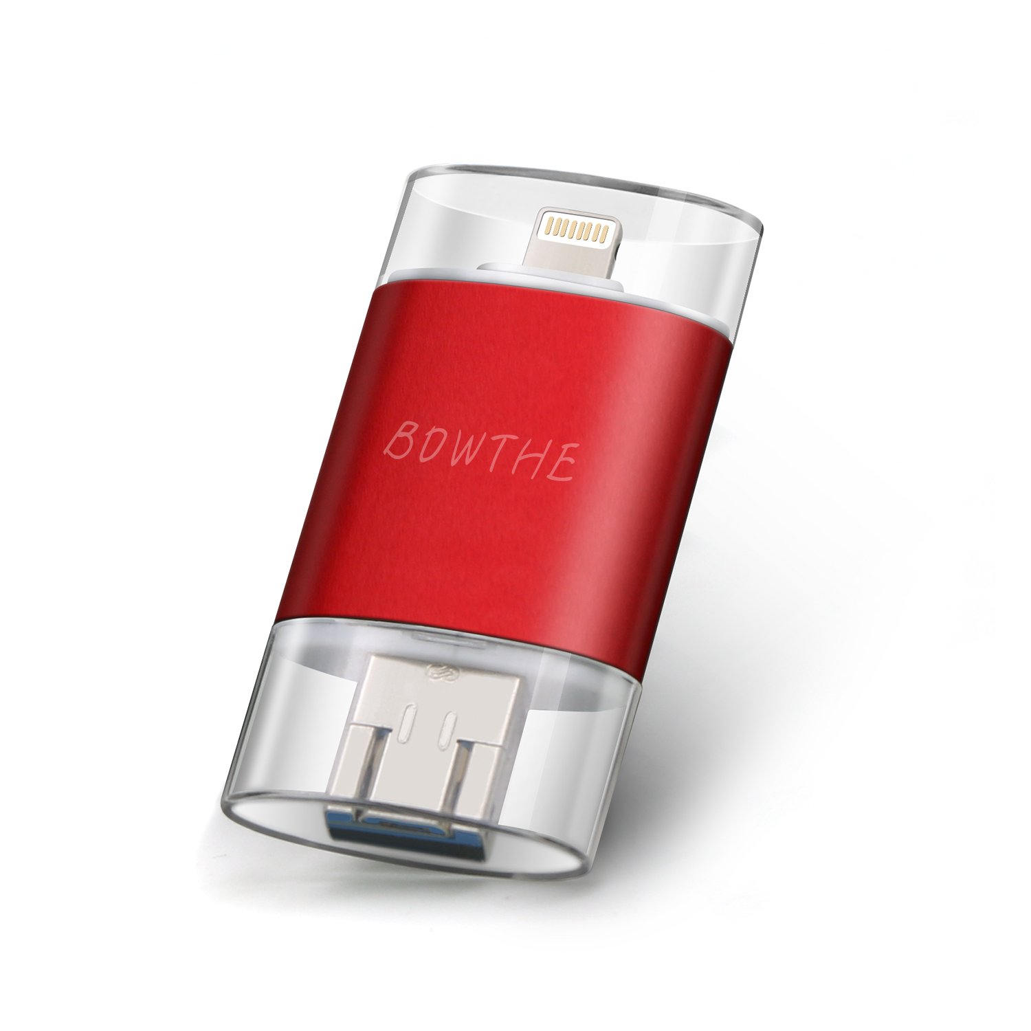 iOS USB Flash Drive iPhone 128GB [3 in 1] OTG Jump Drive, BOWTHE External Micro USB Memory Pen Drive encrypted Flash Sticks iPhone, iPad, Android PC(red128gb)