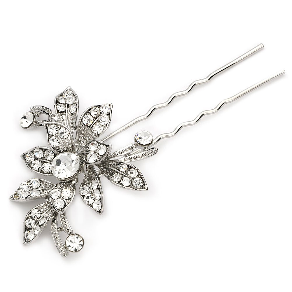 USABride Silver-Tone Flower Rhinestone Bridal Hairpin, Wedding Hair Jewelry 2227 by USABride