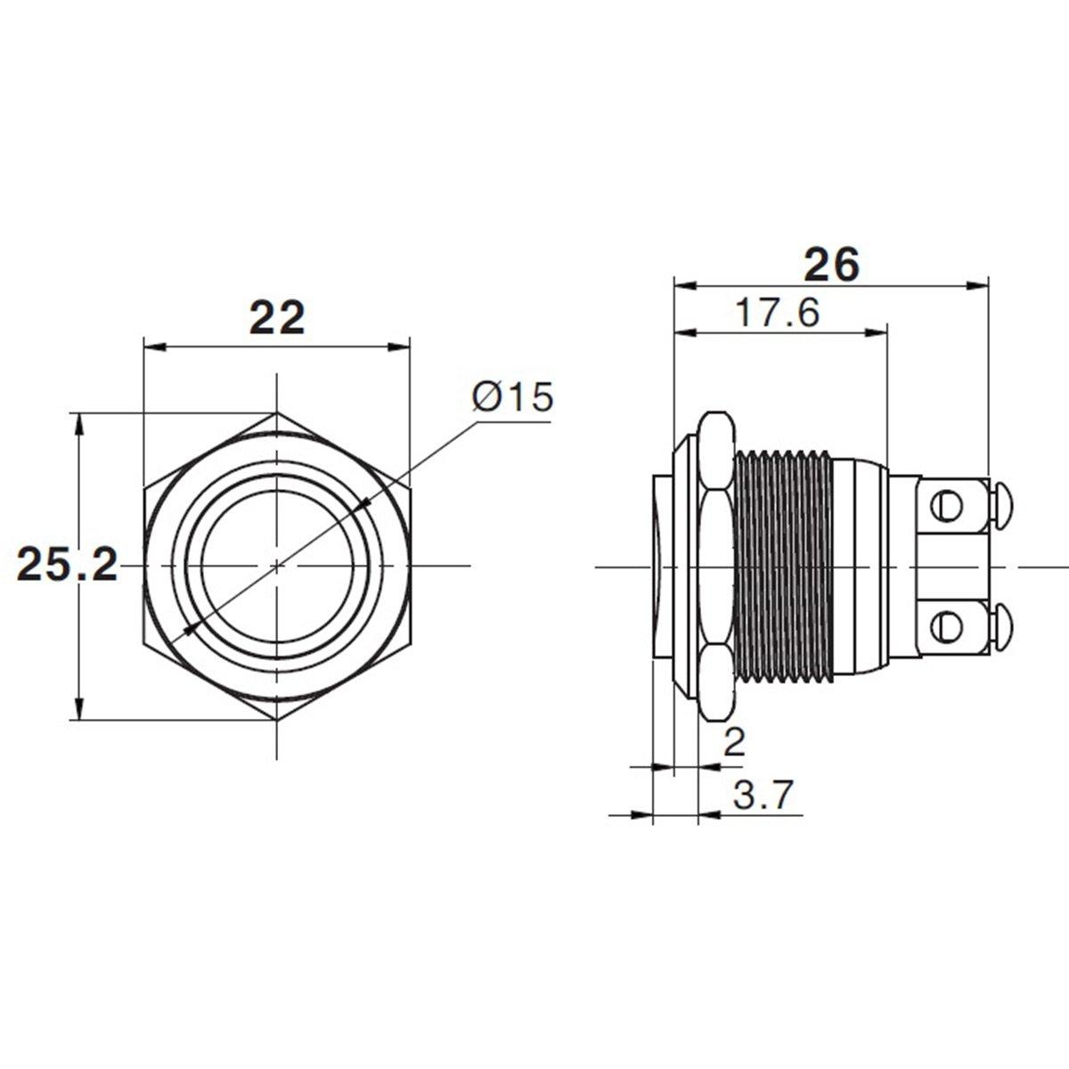 Drucktaster Klingeltaster IP67 LED-Taster Einbau 19mm Edelstahl V2A mit LED Ringbeleuchtung flach wasserdicht Schraubkontakte IP67 AC//DC mit LED Rot