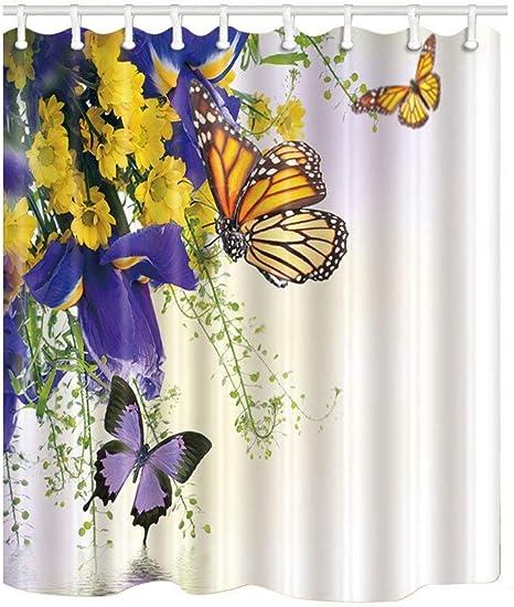 Butterfly Shower Curtain  Butterflies and Flowers Bath Decor Waterproof Curtains