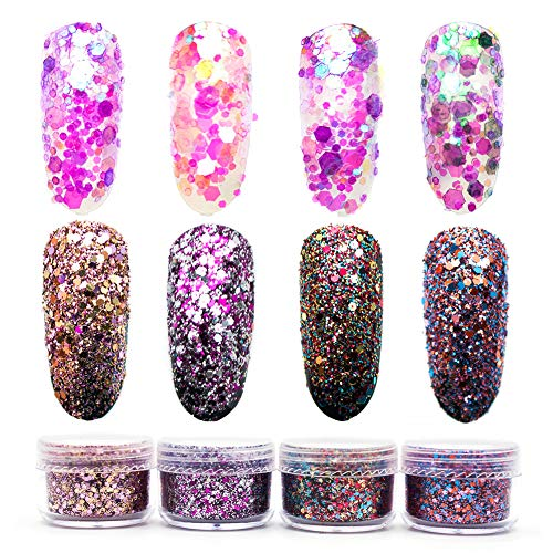 8 Bottles Chunky Nail Art Glitter Power, Festival Colorful Iridescent Flakes Tips, Ultra-thin Sequins Tinsel, Mixed Glitter Dust Paillette For Nails Body Makeup Cosmetic Crafts