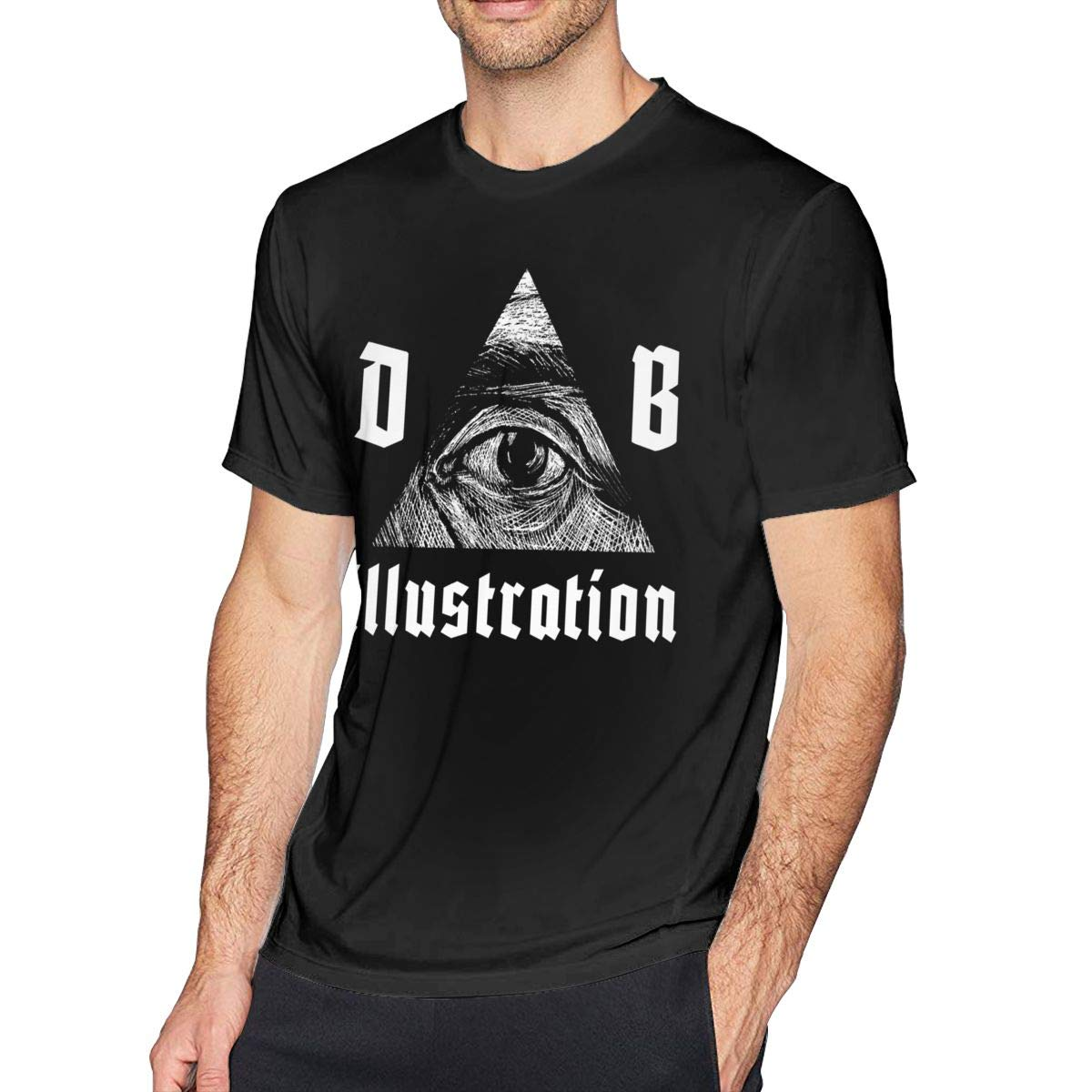 Bfcxbgdsig Dmitry Illustration Soft and Comfortable Fashionable Tshirt with Round Collar Black