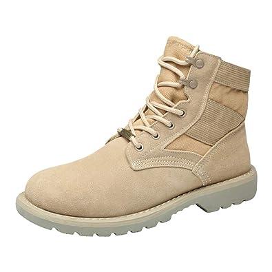 622b55c8127b Qimaoo Bottes Hommes Bottes de Combat Bottes de Travail en Cuir Chaussures  de Randonnée à Lacets