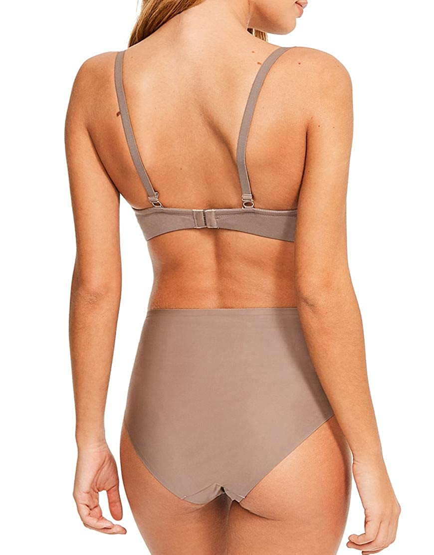 18e73682f Figleaves Womens Smoothing Non-Wired Plunge Bra Size 30FF in Mocha at  Amazon Women s Clothing store