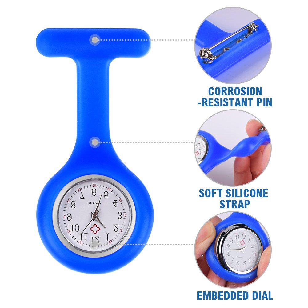 Freshday Nurse Watch, Waterproof Silicon Pocket Brooch Fob Watch, Timepiece Clock for Hospital, Doctors, Nursing, Health Care (Blue) by Freshday (Image #6)