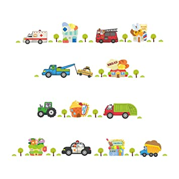 Ruiting Stickers Muraux Voiture,Autocollant Mural Enfant Voitures ...