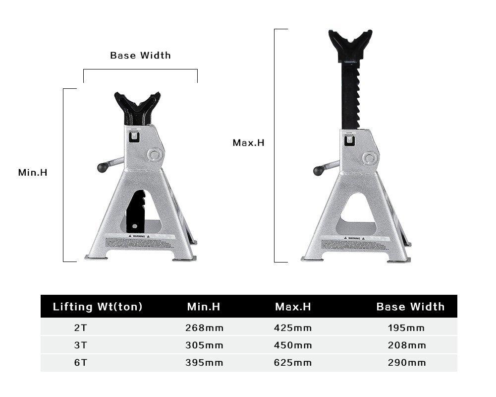 TONDA Steel Jack Stands, 3 Ton Capacity, 1 Pair by TONDA (Image #6)