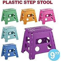 "Step Stool 9"" Plastic Portable Foldable Kids Chair Store Flat Folding Outdoor Random Color"