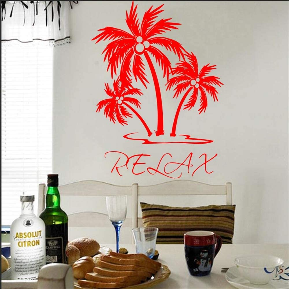 Ajcwhml Etiqueta de la Pared Etiqueta de Vinilo Palmera Relajación Art Deco de la Pared Sala de Estar Dormitorio Casa Interior Mural Wallpaper Poster 42X55 CM: Amazon.es: Hogar