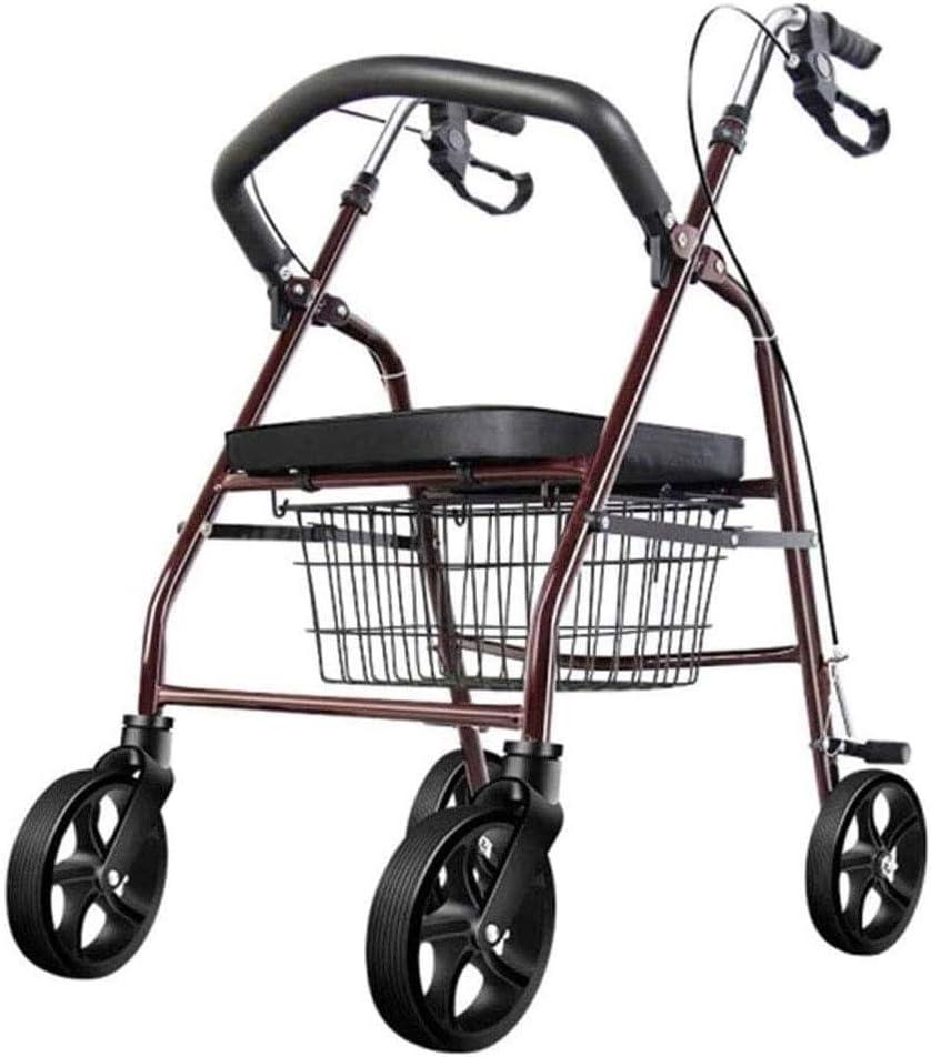 Caminante para el comprador de edad avanzada, ayuda a comprar un cochecito de ruedas plegable ligero con asiento de aleación de aluminio cómodo y ahorrador de mano de obra (tamaño: 67x60x87-94 cm)