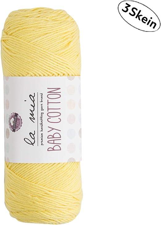 3 madejas La Mia Baby 50% algodón total 10.5 oz cada 3.5 oz (100 g)/218yd (200 m), medio, hilo supersuave, mejor para bebé y amigurumi,: Amazon.es: Hogar