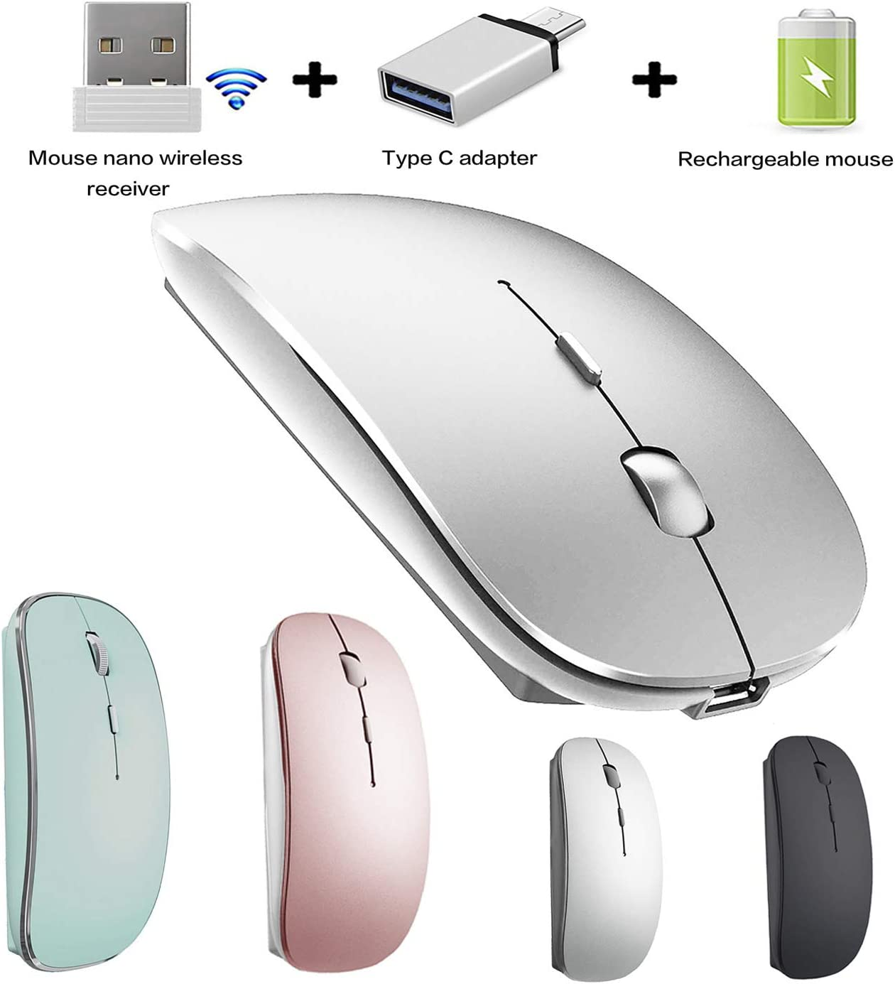 Wireless Mouse for Mac Pro Air Wireless Mouse for MacBook Air MacBook Pro Chromebook Laptop Desktop Computer iMac Win7 8 10 (Silver)