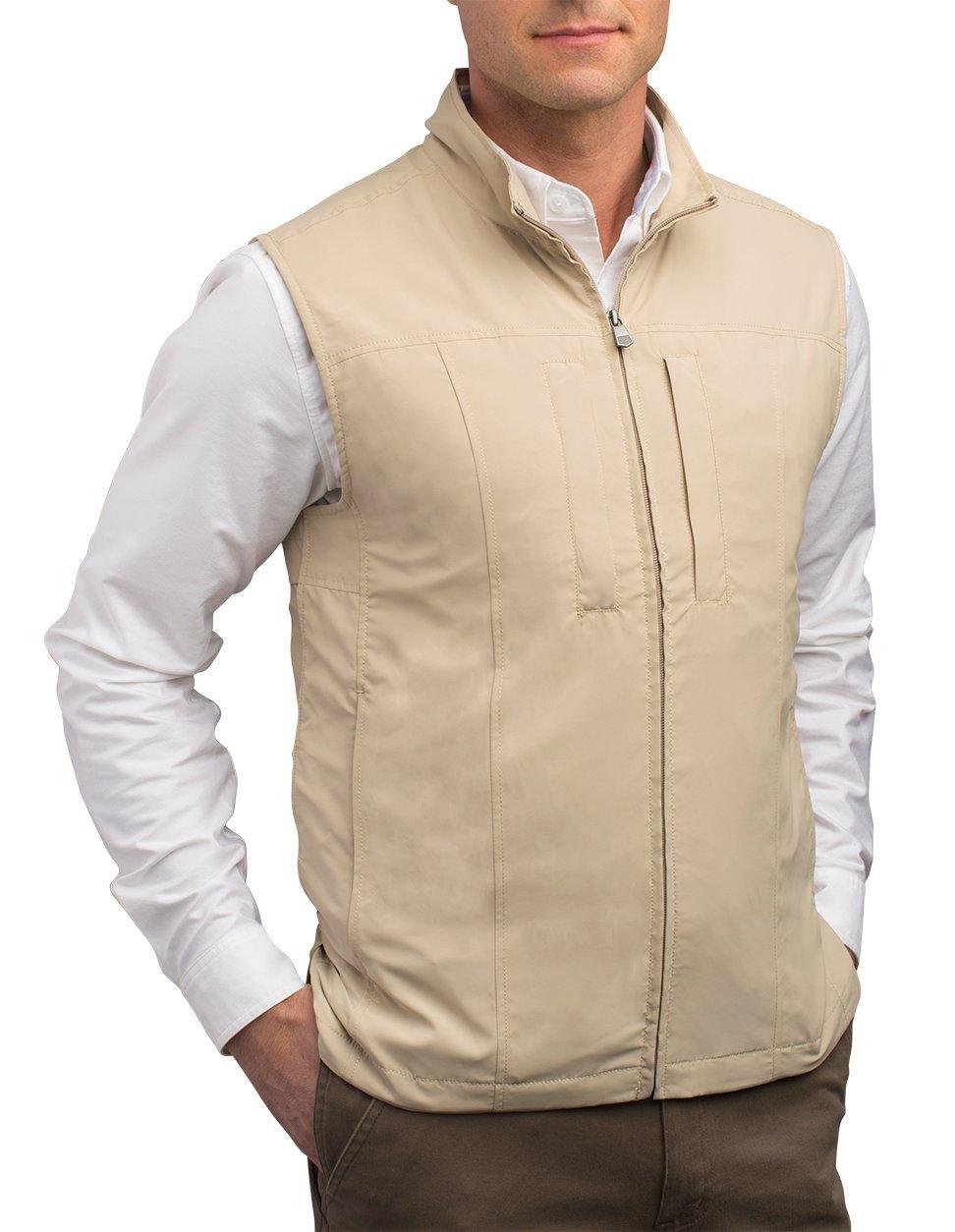 SCOTTeVEST Men's Travel Vest - 24 Pockets Travel Clothing KHA S