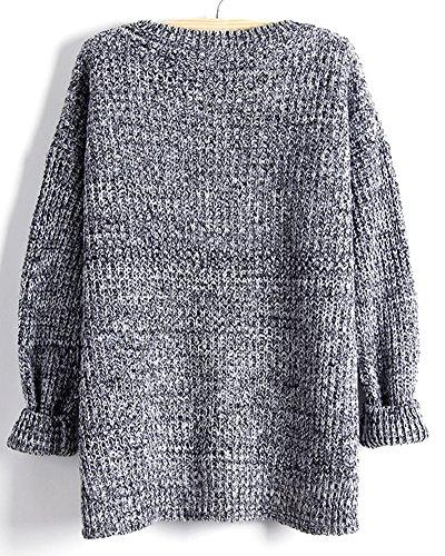 Mujeres Suéter largo, Pulóveres Casual Jersey Prendas de Punto de Cuello Barco Mangas Largas Gris