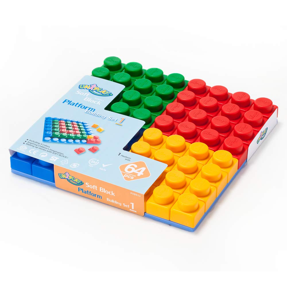 UNiPLAY Soft Building Blocks & Platforms Set 1, Educational Creative Toys. Food Grade Material(Antibacterial), Non-Toxic, BPA Free, 100%Safe Kids, Toddlers, Baby, Preschoolers